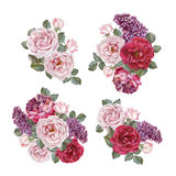 Bouquet of roses and lilac. Royalty Free Stock Photo