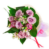 Bouquet from roses, lilies and orchids isolated on white backgro. Und. Closeup Royalty Free Stock Images