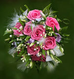 Bouquet with roses and lilies of valley. Stock Photo