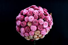 Bouquet of roses made from paper, decoration wedding Royalty Free Stock Photo