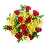 Bouquet of roses and orchids isolated on white background. Closeup Royalty Free Stock Photos