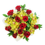 Bouquet of roses and orchids isolated on white background. Closeup Royalty Free Stock Photography