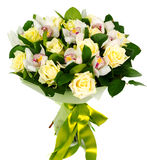 Bouquet of roses and orchids Stock Photography