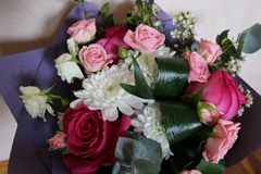 Bouquet of roses and other flowers. stock image