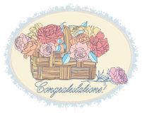 Bouquet with roses in oval frame Royalty Free Stock Photos
