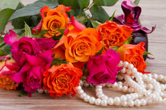 Bouquet of roses with pearls Stock Images