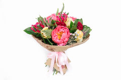 Bouquet with roses, peonies, celosia, brunia and veronica. On white background Stock Photography