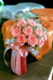Bouquet of roses pink color ribbon withe and pink. Roses Royalty Free Stock Photos