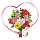 Bouquet of roses with a pink ribbon Royalty Free Stock Photography
