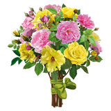 Bouquet of roses with a pink ribbon Royalty Free Stock Photos