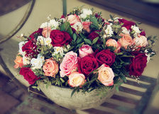 Bouquet of roses in pot Stock Photos