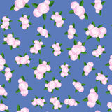Bouquet of Roses Randon Seamless Pattern. On Blue Background Royalty Free Stock Photo