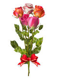 Bouquet of Roses with red bow. EPS 10 Royalty Free Stock Image
