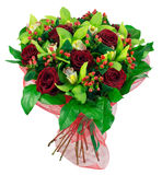 Bouquet of roses in red package Stock Photos