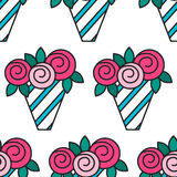Bouquet of roses. Seamless pattern with flowers on white background. Royalty Free Stock Images