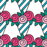 Bouquet of roses. Seamless pattern with flowers on white background. Stock Photos