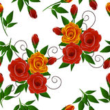 Bouquet of roses seamless pattern. Stock Photos