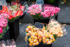 Bouquet of roses sold in the market in Provence, France. Royalty Free Stock Photo