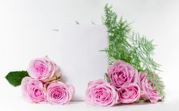 Bouquet of roses with space for text. Mock-up Stock Image
