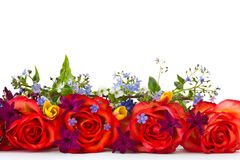 Bouquet of roses and spring flowers