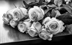 A bouquet of roses on the table. Black-and-white image. On the table lies a beautiful bouquet of white roses . Black-and-white photo stock images