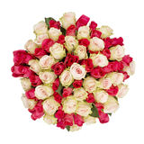 Bouquet of roses, top view Stock Images