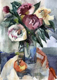 Bouquet of roses in a vase. Water colour still-life with roses Stock Photo