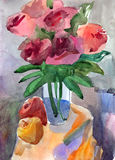Bouquet of roses in a vase. Water colour still-life with roses Royalty Free Stock Image