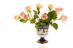 Bouquet roses in vase Stock Photos