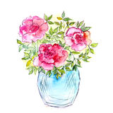 Bouquet of roses in a vase. Watercolor floral card. Floral background. Birthday card with hand-drawn flower Royalty Free Stock Images