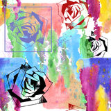 Bouquet of roses watercolor and graphic, pattern seamless Royalty Free Stock Image