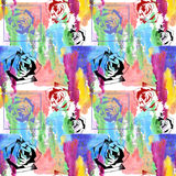 Bouquet of roses watercolor and graphic, pattern seamless Stock Photo