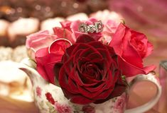 Bouquet of roses with wedding rings. Small bouquet of red and pink roses in a vase with two wedding rings on top. Very shallow depth of field, macro shot Stock Photography