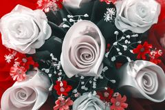 Bouquet roses in white color and red flower. Bouquet roses in white color and red flower in the park royalty free stock photos