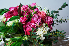 Bouquet of roses, white flowers and greenery. Close. Bouquet of pink roses, white flowers and greenery. Close Royalty Free Stock Photos