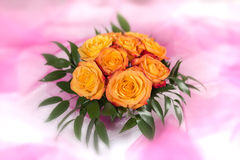 Bouquet of roses on white-pink background Royalty Free Stock Photography