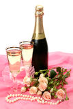 Bouquet of roses and wine Royalty Free Stock Photos