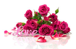Bouquet of roses and word Royalty Free Stock Photography