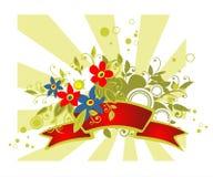Bouquet rouge de bande et de fleurs illustration libre de droits