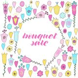 Bouquet sale hand lettering. Hand drawn flowers, hearts and leaves doodle. Pink, yellow and blue pastel colors. stock illustration