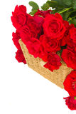 Bouquet of scarlet roses with basket close up Royalty Free Stock Photos