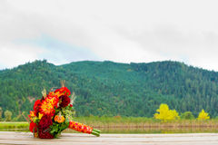 Bouquet and Scenery Royalty Free Stock Photo