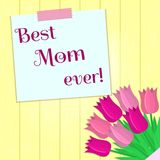 Bouquet of seven pink tulips, a sticker with text on the background of a yellow wood texture. Congratulations. Mothers vector illustration