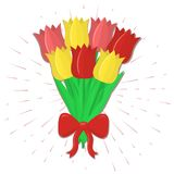 Bouquet of seven red and yellow tulips with a red bow on the background of the rays. Flat style, vector Stock Photography