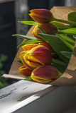 Bouquet of several red and yellow tulips Royalty Free Stock Photos