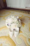 Bouquet on Shoes Royalty Free Stock Photos