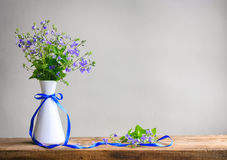 Bouquet of small delicate blue flowers of veronica in white vase Stock Image