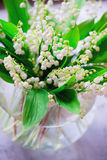 A bouquet of small white flower lily of the valley Stock Photos