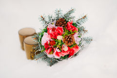 Bouquet on the snow Royalty Free Stock Photos