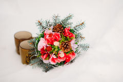 Bouquet on the snow Royalty Free Stock Images